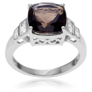 Journee Collection Sterling Silver Smoky and White Topaz Ring