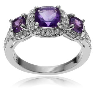 Journee Collection Sterling Silver Amethyst and Topaz Accent Ring