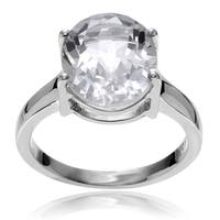 Journee Collection Sterling Silver Crystal Quartz Ring