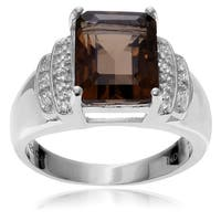 Journee Collection Sterling Silver Smoky White Topaz Ring