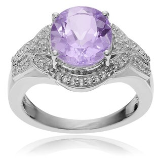 Journee Collection Sterling Silver Pink Amethyst and Topaz Ring
