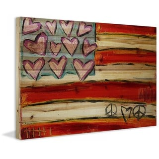 "Marmont Hill - ""Heart Flag"" by Tori Campisi Painting Print on Natural Pine Wood"