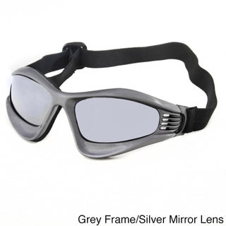 Hot Optix Vented Motorcycle Goggles (Option: Grey Frame/Silver Mirror Lens)