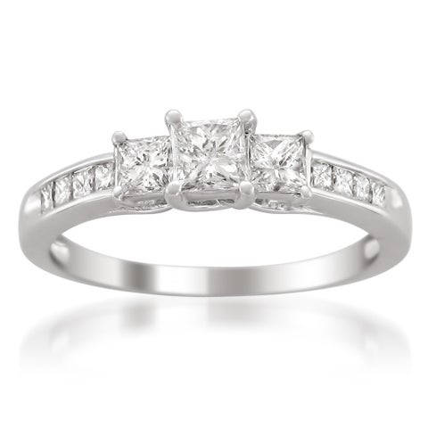 Montebello Platinum 1ct TDW Princess 3-stone Diamond Engagement Ring