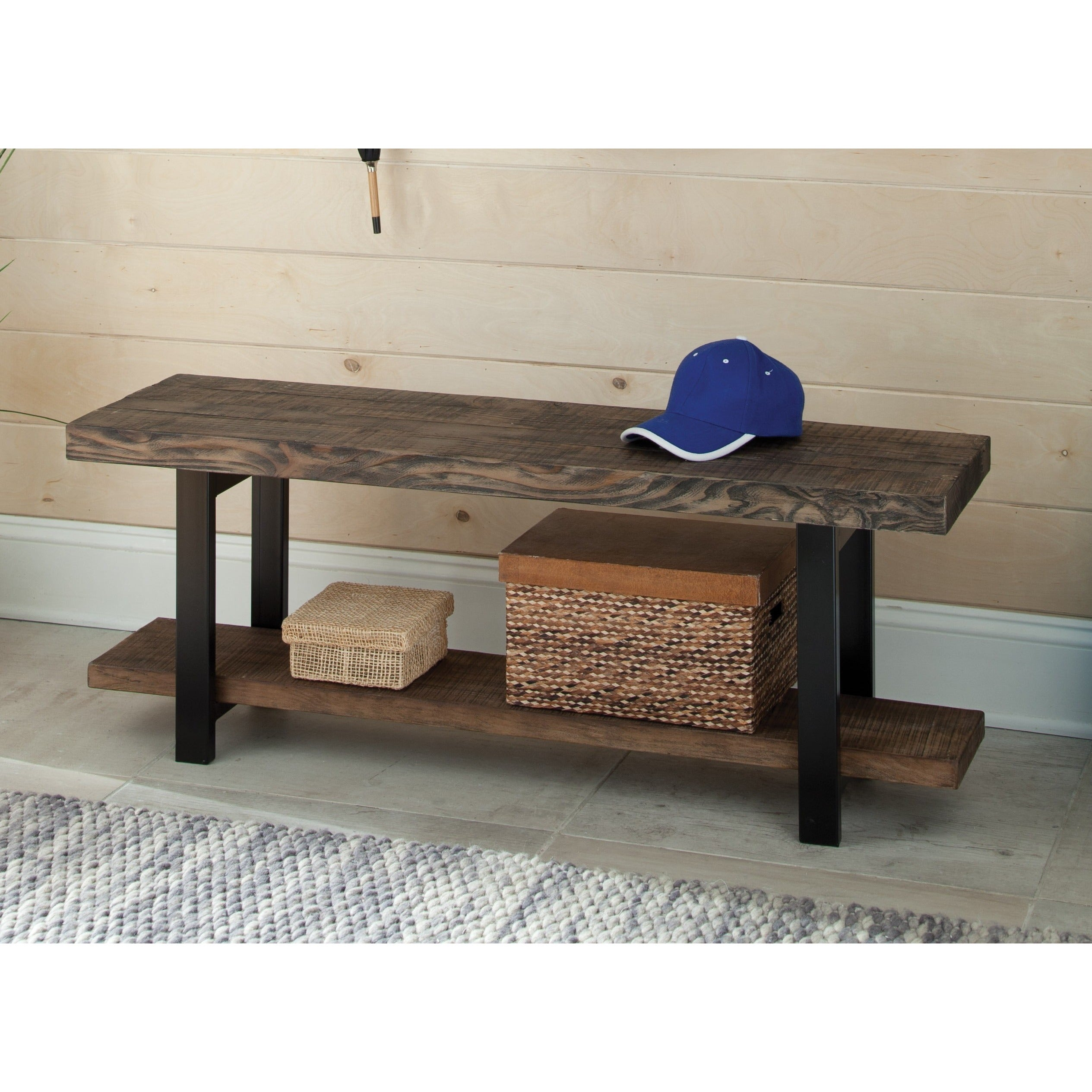 Amazing Carbon Loft Lawrence Reclaimed Wood Bench With Shelf Pabps2019 Chair Design Images Pabps2019Com