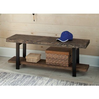 The Gray Barn Michaelis Reclaimed Wood Bench with Shelf