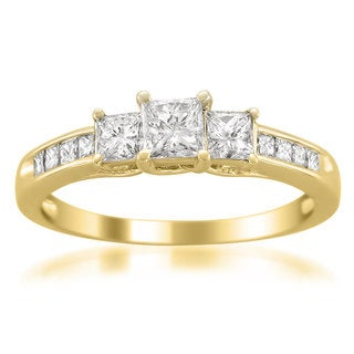 Montebello 14k Yellow Gold 1ct TDW Princess-cut 3-Stone White Diamond Engagement Ring