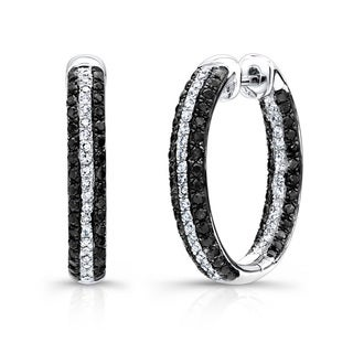 Sterling Silver 1 1/4ct TDW Black and White Diamond Hoop Earrings (J-K, I2-I3)