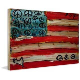 Marmont Hill - Handmade Peace Flag Painting Print on Natural Pine Wood