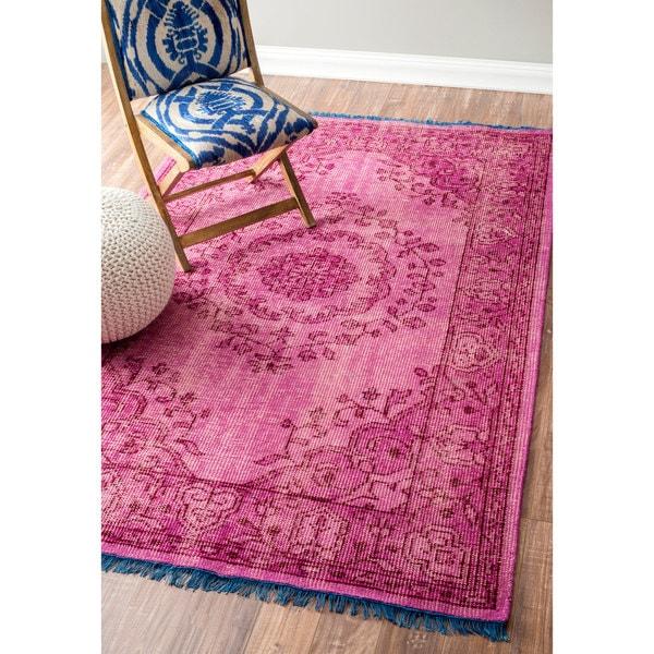 Shop NuLOOM Hand Knotted Vintage Wool Pink Rug