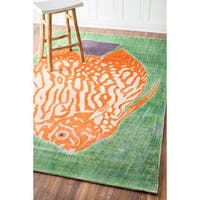 nuLOOM Hand-Knotted Viscose Fish Fancy Multi Area Rug (5' x 8') - 5' x 8'