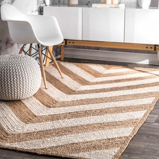 nuLOOM Alexa Eco Natural Fiber Braided Reversible Chevron Jute Rug (5' x 8')