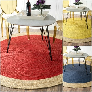 nuLOOM Alexa Eco Natural Fiber Braided Reversible Border Jute Rug