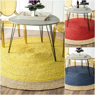 nuLOOM Alexa Reversible Natural Fiber Braided Bordered Jute Rug (8' Round)