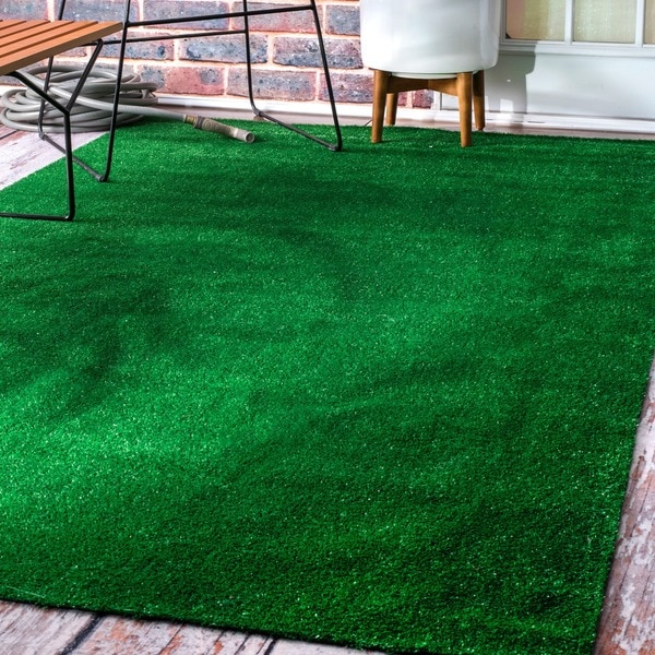 Patio Grass Rug: Shop NuLOOM Green Artificial Grass Outdoor Lawn Turf Patio