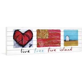 """Marmont Hill - """"Live Free Fire Island"""" by Tori Campisi Painting Print on White Pine Wood"""