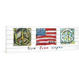 """Marmont Hill - """"Live Free Aspen"""" by Tori Campisi Painting Print on White Pine Wood"""