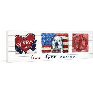 """Marmont Hill - """"Live Free Boston"""" by Tori Campisi Painting Print on White Pine Wood"""