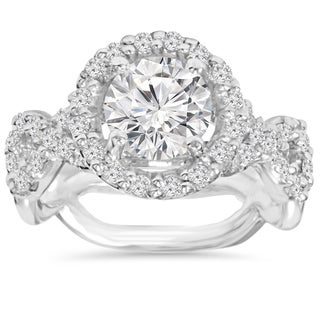 14k White Gold 3 ct TDW Clarity Enhanced Diamond Round Engagement Ring