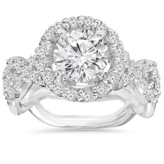 14k White Gold 3 ct TDW Clarity Enhanced Diamond Round Engagement Ring (I-J, I2-I3)
