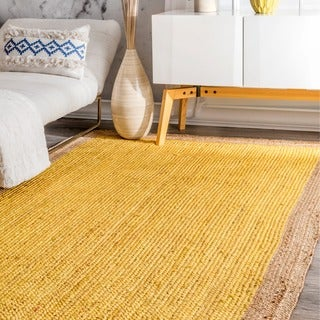 nuLOOM Alexa Eco Natural Fiber Braided Reversible Border Jute Rug (3' x 5')