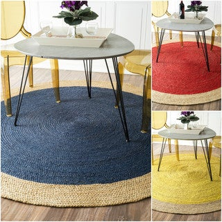 nuLOOM Alexa Eco Natural Fiber Braided Reversible Border Jute Rug (4' Round)