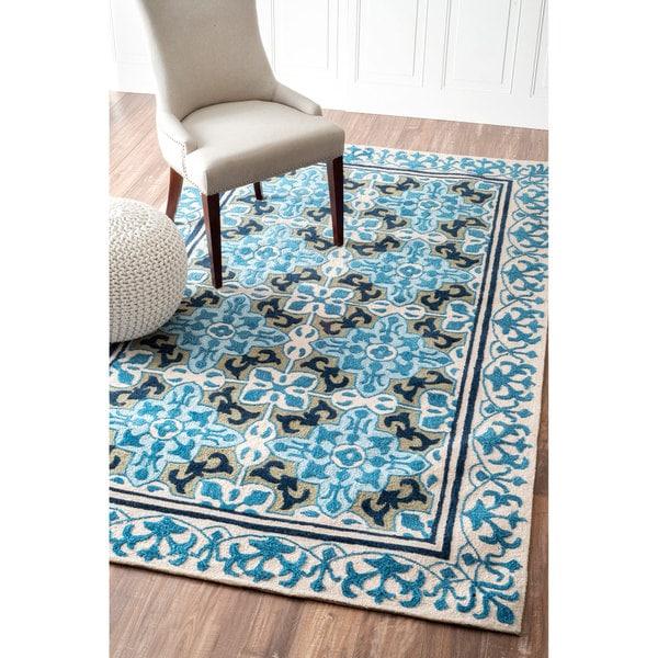 Woolrich Blue And White Floral Rug: Shop NuLOOM Handmade Modern Floral Tile White/ Blue Rug