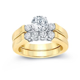 Auriya 14k Two-Tone Gold 1ct TDW Round Diamond Bridal Ring Set (H-I, SI2-SI3)