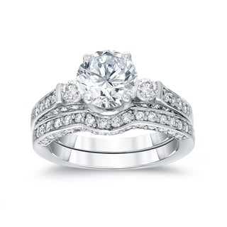 Auriya 14k White Gold 2ct TDW Certified Round Diamond Bridal Ring Set