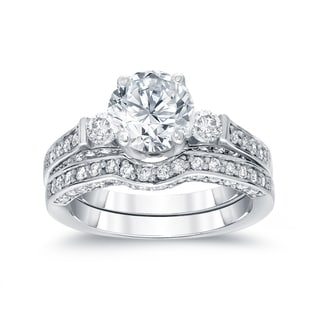 Auriya 14k White Gold 2ct TDW Round Diamond Bridal Ring Set (H-I, SI2-SI3)
