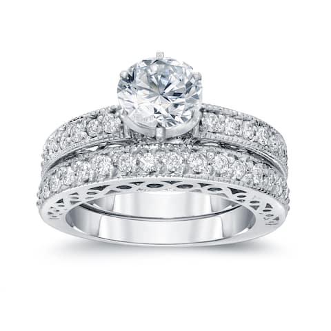 Auriya 14k Gold 1 1/2ctw Round Diamond Engagement Ring Set Certified