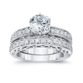 Auriya 14k White Gold 1 1/2ct TDW Certified Round Diamond Bridal Ring Set