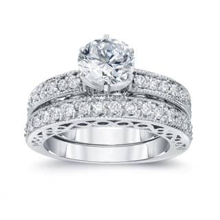 Auriya 14k White Gold 1 1/2ct TDW Certified Round Diamond Bridal Ring Set|https://ak1.ostkcdn.com/images/products/10412994/P17513422.jpg?impolicy=medium