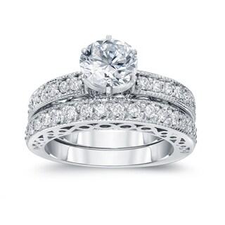 Auriya Unique 1 1/2ct TDW Certified Round Diamond Engagement Ring Set 14k Gold