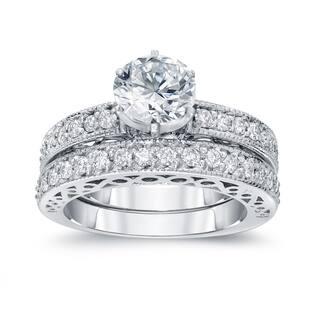 Auriya 1 1/2ctw Round Diamond Engagement Ring Set 14k Gold Certified