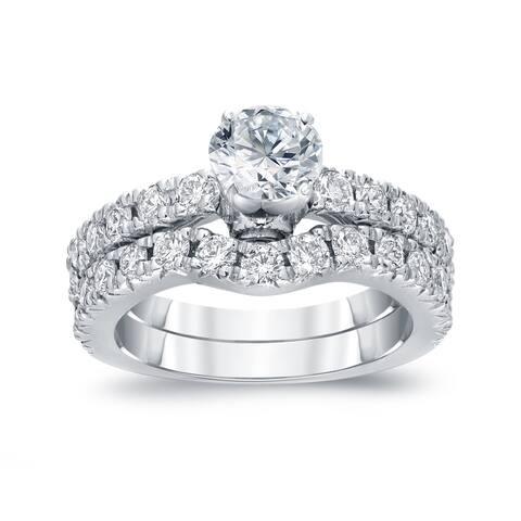 Auriya 14k Gold 14k White Gold 1 1/2ctw Round Diamond Engagement Ring Set