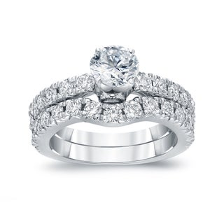Auriya 14k White Gold 1 1/2ct TDW Round Cut Diamond Bridal Ring Set (H-I, SI2-SI3)