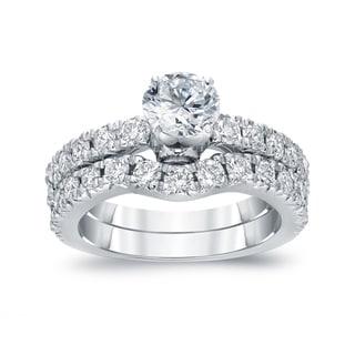 Auriya 14k White Gold 1 1/2ct TDW Certified Round-cut Diamond Bridal Ring Set