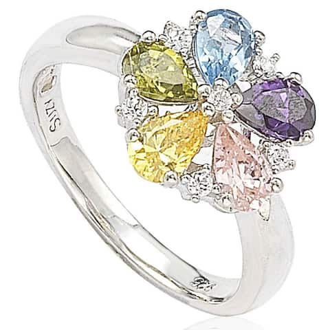 Suzy Levian Sterling Silver Cubic Zirconia Multi-Color Flower Ring - Multicolor