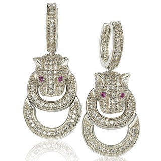 Suzy Levian Cubic Zirconia Sterling Silver Tiger Earrings