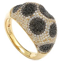 Suzy Levian Sterling Silver Pave Cubic Zirconia Ring - Black Yellow