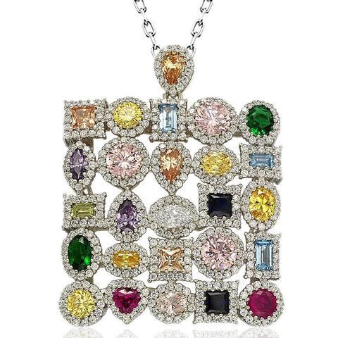 Suzy Levian Sterling Silver Multi-Color Cubic Zirconia Pendant Necklace