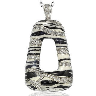 Suzy Levian Sterling Silver Cubic Zirconia Animal Print Pendant