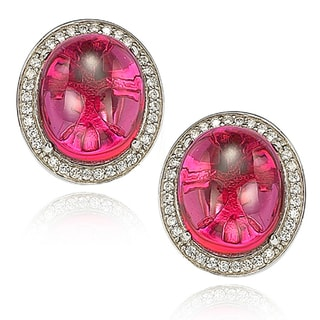 Suzy Levian Simulated Ruby Sterling Silver Stud Earrings