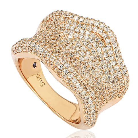 Suzy Levian Rose Sterling Silver Cubic Zirconia Pave Curved Wide Ring - Gold