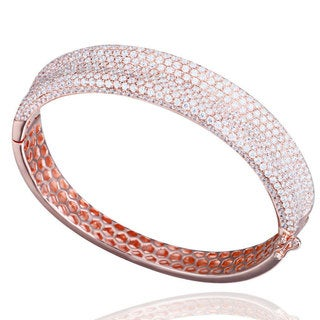 Suzy Levian Pave Cubic Zirconia Sterling Silver Bangle (2 options available)