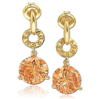 Suzy Levian Cubic Zirconia Sterling Silver Orange Dangle Earrings