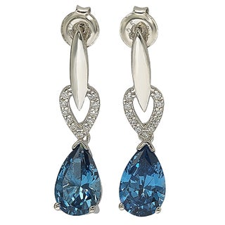 Suzy Levian Cubic Zirconia Sterling Silver Pear Shape Earrings