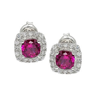 Suzy Levian Cubic Zirconia Sterling Silver Princess Diana Stud Earrings (3 options available)