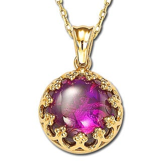 Suzy Levian Cubic Zirconia Sterling Silver and 18K Gold Purple Solitaire Pendant